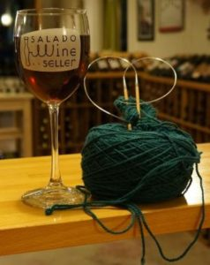 Knit with friends and enjoy a glass of wine!