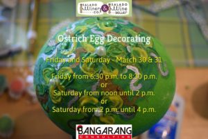 Ostrich Egg Decorating starts Friday, March 30 at 6:30 or Saturday, March 31 at 12 noon or 2 pm